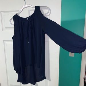 Navy blue open shoulder blouse